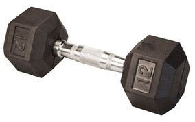 Body Solid Rubber Coated Hex Dumbbell 12 Lbs Image