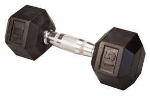 Body Solid Rubber Coated Hex Dumbbell 15 Lbs Image