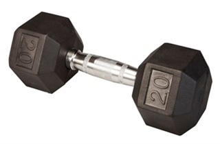 Body Solid Rubber Coated Hex Dumbbell 20 Lbs Image