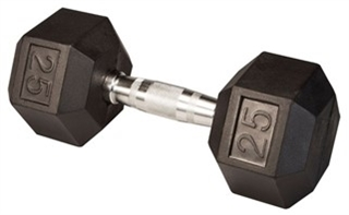 Body Solid Rubber Coated Hex Dumbbell 25 Lbs Image