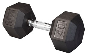 Body Solid SDR40 Rubber Coated Hex Dumbbell 40 Lbs Image