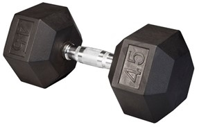 Body Solid Rubber Coated Hex Dumbbell 45 Lbs Image