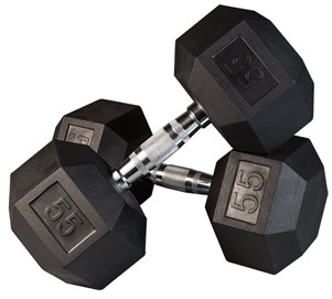 Body Solid Rubber Coated Hex Dumbbell 55 Lbs Image