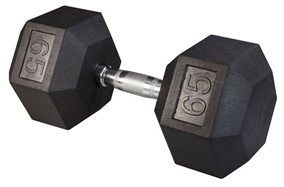 Body Solid Rubber Coated Hex Dumbbell 65 Lbs Image