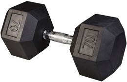 Body Solid Rubber Coated Hex Dumbbell 70 Lbs Image