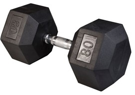Body Solid SDR80 Rubber Coated Hex Dumbbell 80 Lbs Image