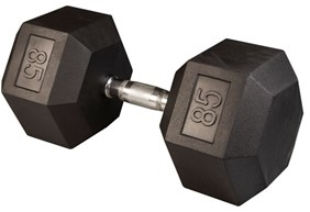 Body Solid Rubber Coated Hex Dumbbell 85 Lbs Image