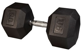 Body Solid SDR90 Rubber Coated Hex Dumbbell 90 Lbs Image