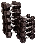 Body Solid Rubber Coated Hex Dumbbell Set 5 to 50 Lbs Image