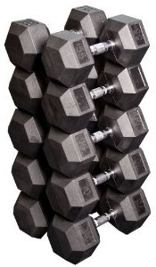 Body Solid Rubber Coated Hex Dumbbell Set 55 to 75 Lbs Image