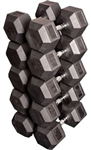 Body Solid Rubber Coated Hex Dumbbell Set 80 to 100 Lbs Image