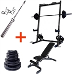 French Fitness Rubber Grip Weight Plate Set w/7 ft Bar 235 lbs + Rack + Bench Image