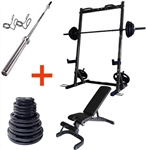 French Fitness Rubber Grip Weight Plate Set w/7 ft Bar 305 lbs + Rack + Bench Image