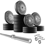 French Fitness Bumper Plates Set w/7 ft Olympic Bar 515 lbs Image