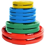 French Fitness Colored Rubber Grip Olympic Plate Set 190 lbs Image