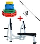 French Fitness Colored Rubber Grip Weight Plate Set w/7 ft Olympic Bar 235 lbs + Bench Image