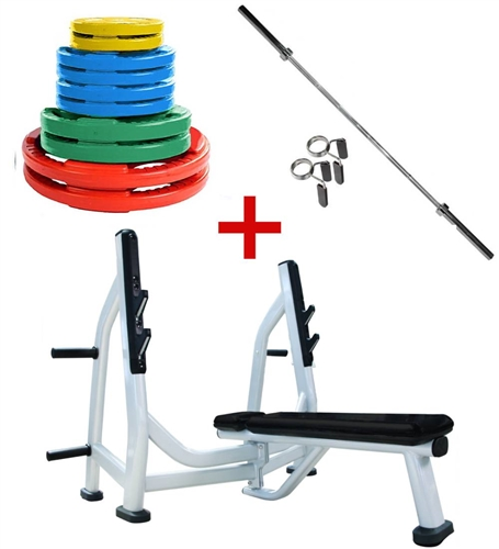 French Fitness Colored Rubber Grip Weight Plate Set W 7 Ft Olympic Bar 235 Lbs Bench Fitness Superstore