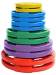 French Fitness Colored Rubber Grip Olympic Plate Set 260 lbs Image