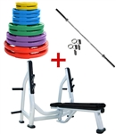 French Fitness Colored Rubber Grip Weight Plate Set w/7 ft Olympic Bar 305 lbs + Bench Image