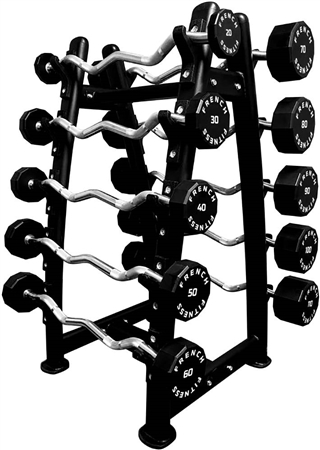 French Fitness EZ Curl Urethane Barbell Bar Set, 20-110 lbs Image