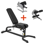 French Fitness MFAB Multi Functional Adjustable Bench w/Arm Curl + Leg Ext Image