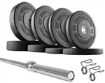 French Fitness Olympic Bumper Plate Set w/7 ft Body-Solid Olympic Bar 235 lbs Image
