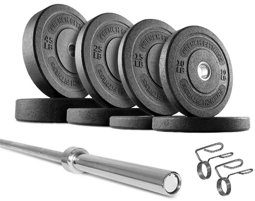 French Fitness Olympic Bumper Plate Set W 7 Ft Body Solid Olympic Bar 235 Lbs Fitness Superstore