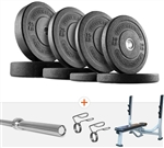 French Fitness Olympic Bumper Plate Set w/7 ft Olympic Bar 235 lbs + Bench Image