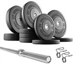 French Fitness Bumper Plates Set w/7 ft Olympic Bar 285 lbs Image