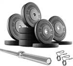 French Fitness Olympic Bumper Plate Set w/7 ft Olympic Bar 325 lbs Image