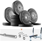 French Fitness Olympic Bumper Plate Set w/7 ft Olympic Bar 325 lbs + Bench Image