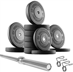 French Fitness Olympic Bumper Plate Set w/7 ft Olympic Bar 415 lbs Image