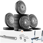 French Fitness Olympic Bumper Plate Set w/7 ft Olympic Bar 415 lbs + Bench Image