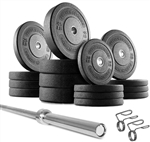 French Fitness Bumper Plates Set w/7 ft Olympic Bar 425 lbs Image