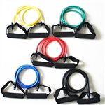 French Fitness Resistance Band Set of 5 w/Handles Image