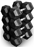 French Fitness Rubber Coated Hex Dumbbell Set 105-120 lbs Image