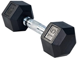 French Fitness Rubber Coated Hex Dumbbell 15 lbs Image
