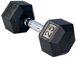 French Fitness Rubber Coated Hex Dumbbell 25 lbs Image