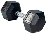 French Fitness Rubber Coated Hex Dumbbell 35 lbs Image