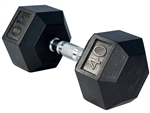 French Fitness Rubber Coated Hex Dumbbell 40 lbs Image