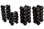 French Fitness Rubber Coated Hex Dumbbell Set 5-100 lbs Image