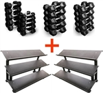 French Fitness Rubber Hex Dumbbell Set 5-100 lbs w/(2) 3 Tier Dumbbell Racks Image