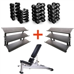 French Fitness Rubber Hex Dumbbell Set 5 to 100 lbs w/Bench + (2) 3 Tier Dumbbell Racks Image