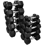 French Fitness Rubber Coated Hex Dumbbell Set 5-50 lbs Image