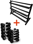 French Fitness Rubber Hex Dumbbell Set 5 to 50 lbs. w/Rack Image