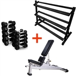 French Fitness Rubber Hex Dumbbell Set 5 to 50 lbs w/Bench + Rack Image