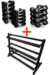 French Fitness Rubber Coated Hex Dumbbell Set 5-70 lbs w/Rack Image