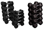 French Fitness Rubber Coated Hex Dumbbell Set 5-75 lbs Image