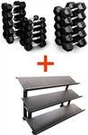 French Fitness Rubber Hex Dumbbell Set 5 to 75 lbs w/3 Tier Dumbbell Rack Image
