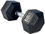 French Fitness Rubber Coated Hex Dumbbell 50 lbs Image